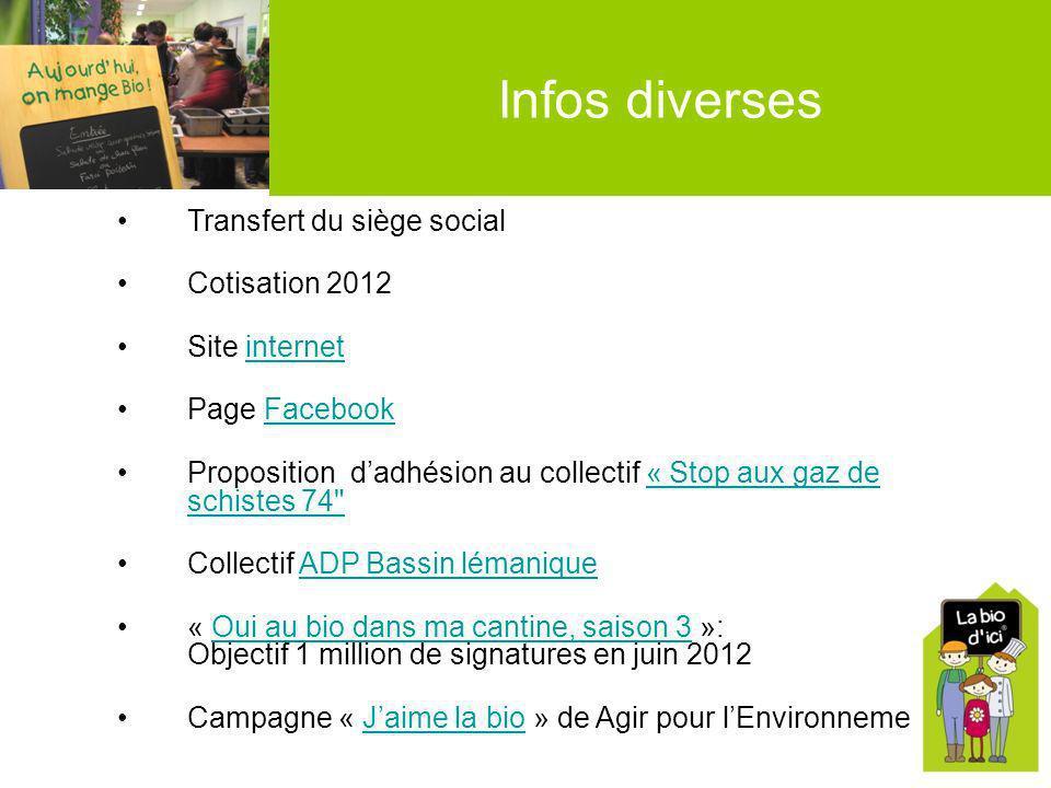 Infos diverses Transfert du siège social Cotisation 2012 Site internetinternet Page FacebookFacebook Proposition dadhésion au collectif « Stop aux gaz
