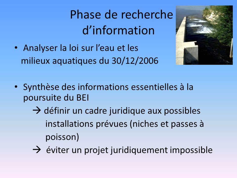 Phase de recherche dinformation Analyser la loi sur leau et les milieux aquatiques du 30/12/2006 Synthèse des informations essentielles à la poursuite