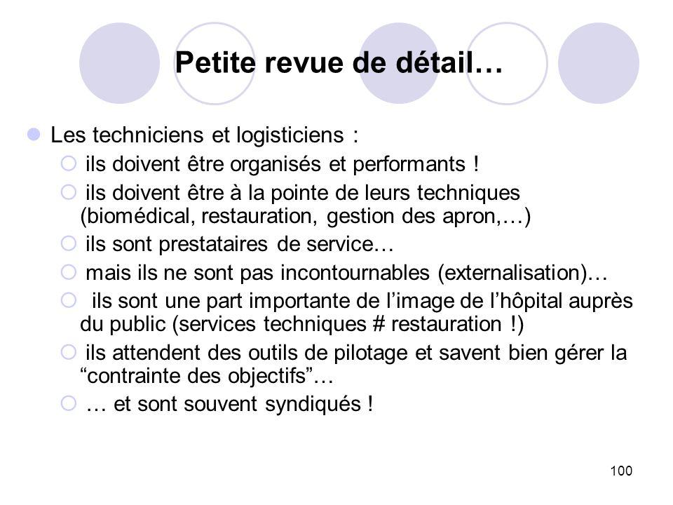100 Les techniciens et logisticiens : ils doivent être organisés et performants ! ils doivent être à la pointe de leurs techniques (biomédical, restau