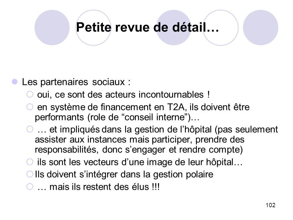 102 Les partenaires sociaux : oui, ce sont des acteurs incontournables ! en système de financement en T2A, ils doivent être performants (role de conse