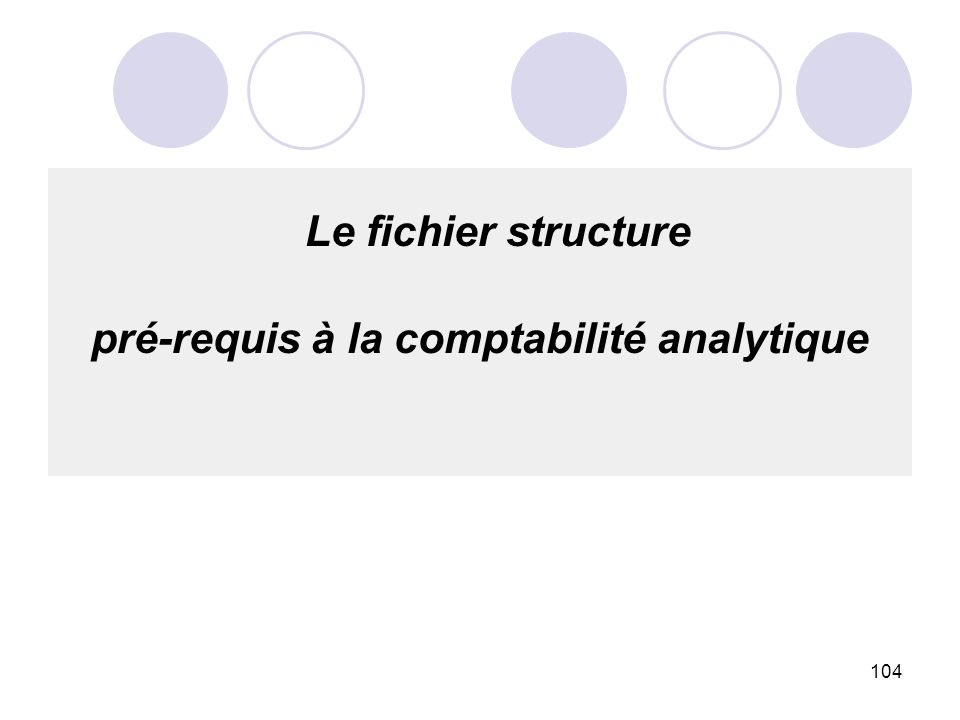 104 Le fichier structure pré-requis à la comptabilité analytique