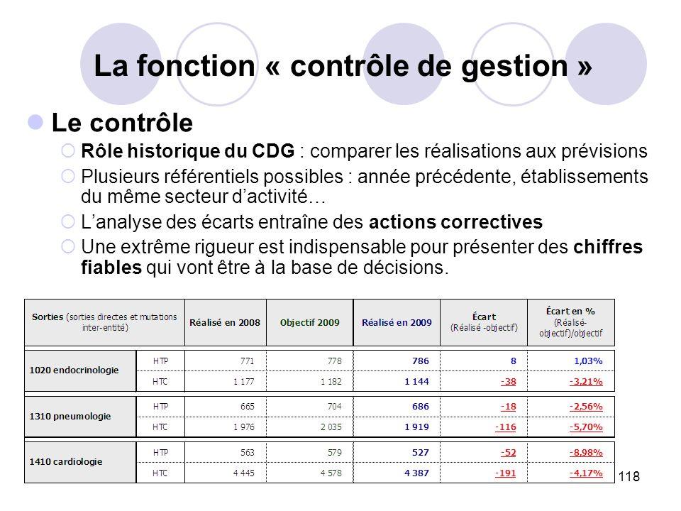 118 La fonction « contrôle de gestion » Le contrôle Rôle historique du CDG : comparer les réalisations aux prévisions Plusieurs référentiels possibles