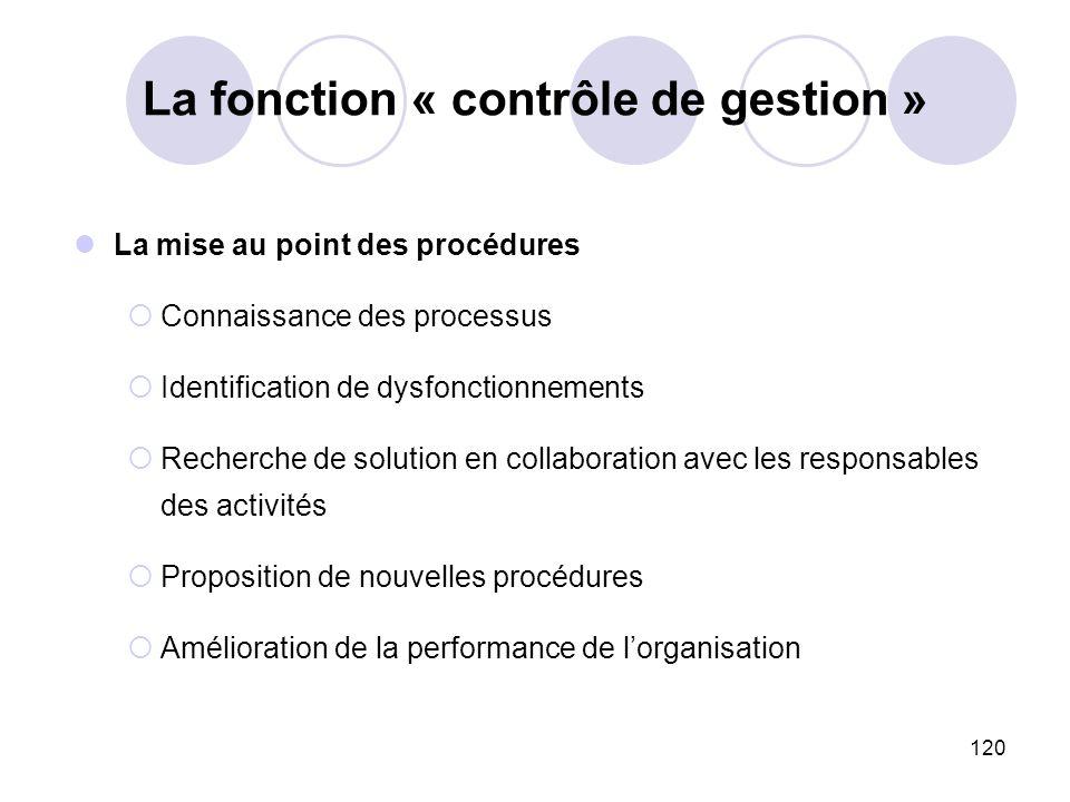 120 La fonction « contrôle de gestion » La mise au point des procédures Connaissance des processus Identification de dysfonctionnements Recherche de s