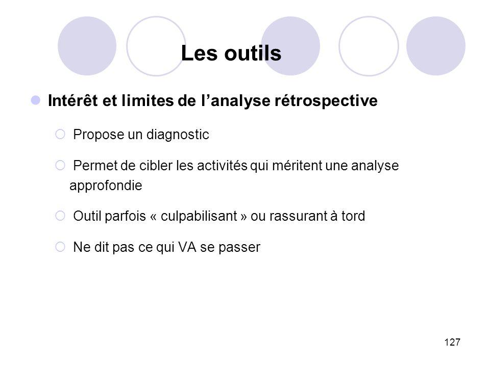 127 Intérêt et limites de lanalyse rétrospective Propose un diagnostic Permet de cibler les activités qui méritent une analyse approfondie Outil parfo