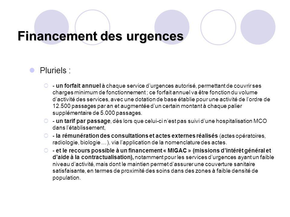 Financement des urgences Pluriels : - un forfait annuel à chaque service durgences autorisé, permettant de couvrir ses charges minimum de fonctionneme