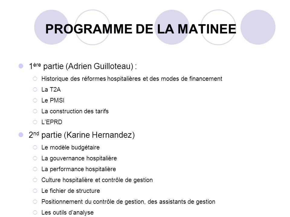 PROGRAMME DE LA MATINEE 1 ère partie (Adrien Guilloteau) : Historique des réformes hospitalières et des modes de financement La T2A Le PMSI La constru