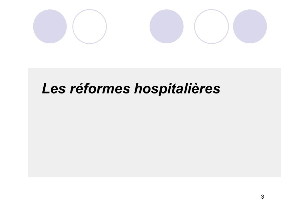 3 Les réformes hospitalières