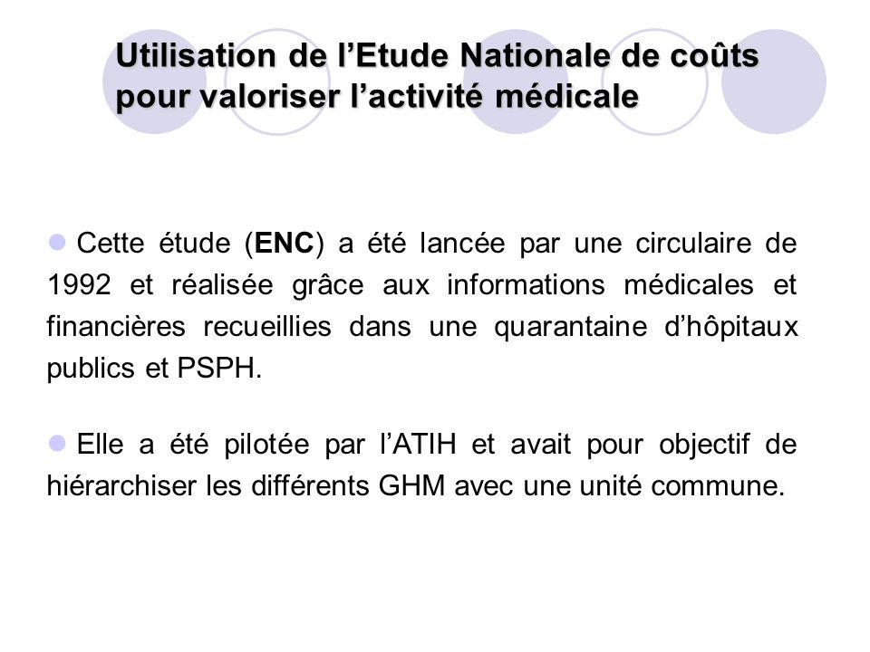 Cette étude (ENC) a été lancée par une circulaire de 1992 et réalisée grâce aux informations médicales et financières recueillies dans une quarantaine