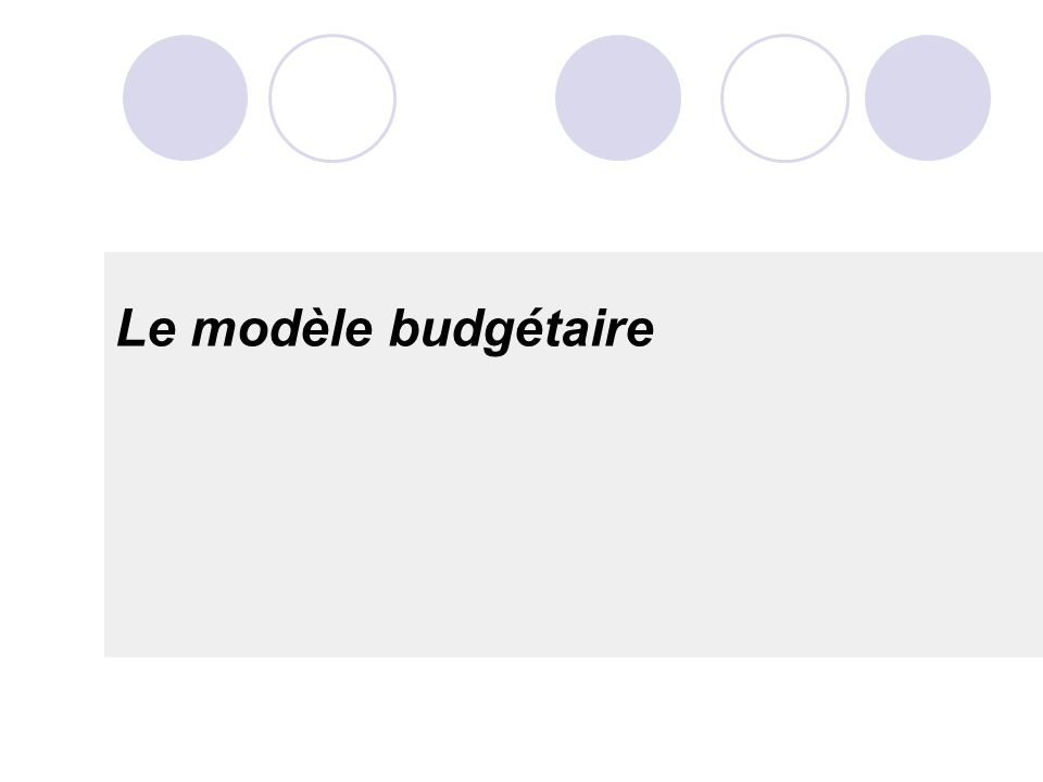 Le modèle budgétaire