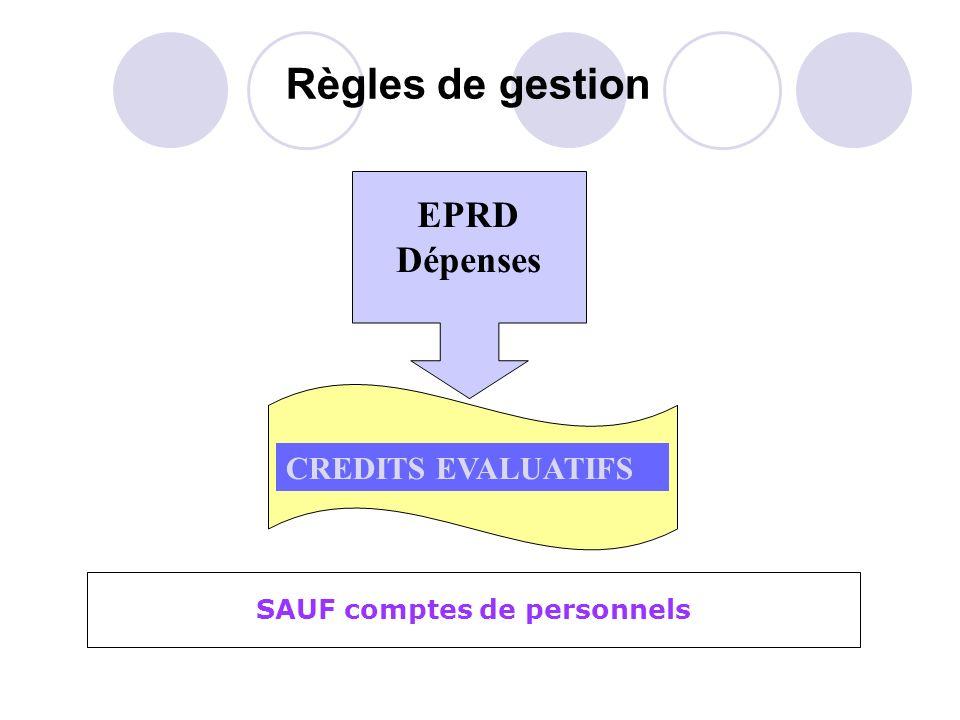 Règles de gestion EPRD Dépenses CREDITS EVALUATIFS SAUF comptes de personnels