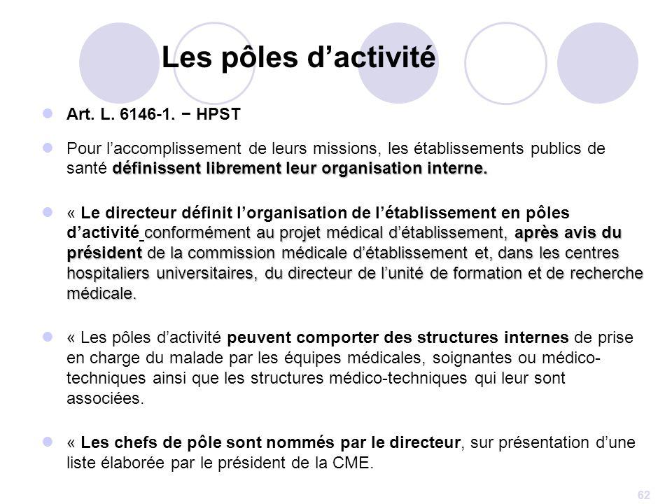 62 Art. L. 6146-1. HPST définissent librement leur organisation interne. Pour laccomplissement de leurs missions, les établissements publics de santé
