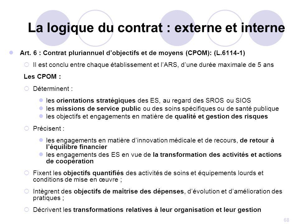 68 Art. 6 : Contrat pluriannuel dobjectifs et de moyens (CPOM): (L.6114-1) Il est conclu entre chaque établissement et lARS, dune durée maximale de 5