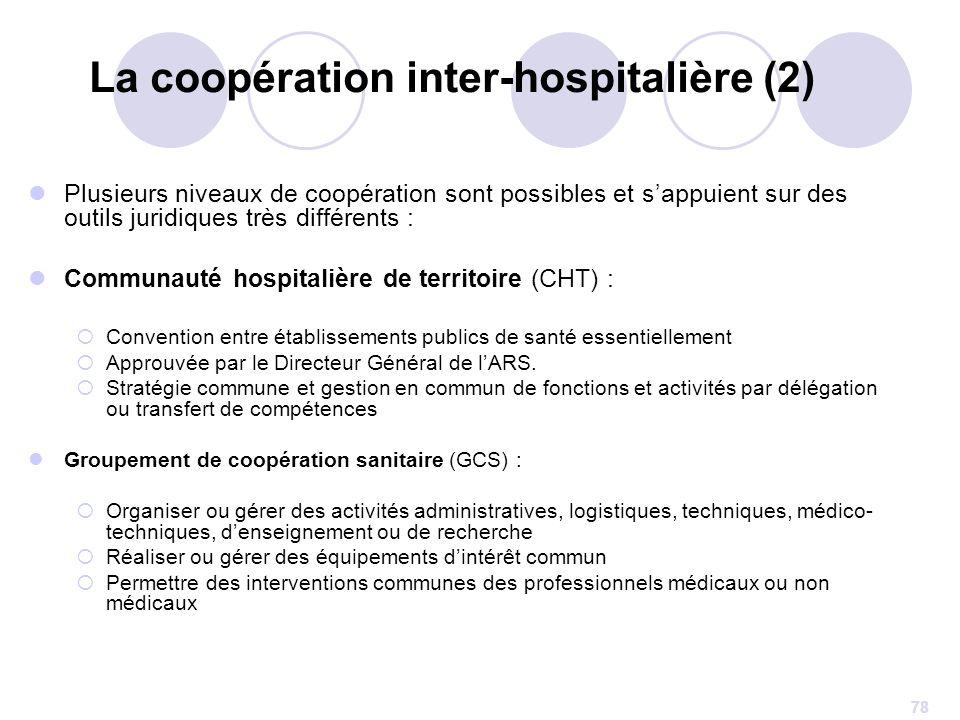 78 La coopération inter-hospitalière (2) Plusieurs niveaux de coopération sont possibles et sappuient sur des outils juridiques très différents : Comm