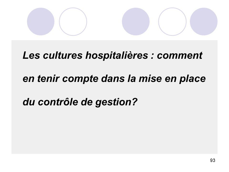 93 Les cultures hospitalières : comment en tenir compte dans la mise en place du contrôle de gestion?
