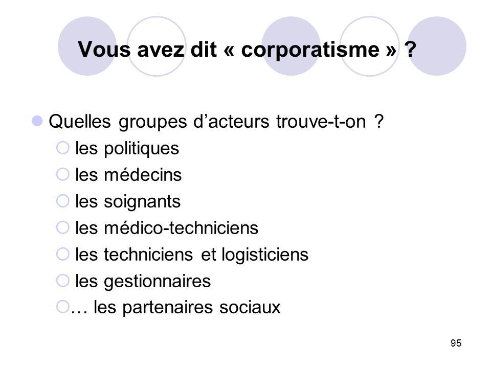 95 Vous avez dit « corporatisme » ? Quelles groupes dacteurs trouve-t-on ? les politiques les médecins les soignants les médico-techniciens les techni