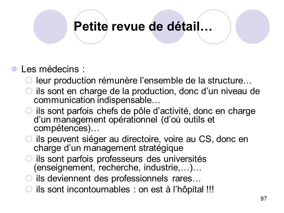 97 Les médecins : leur production rémunère lensemble de la structure… ils sont en charge de la production, donc dun niveau de communication indispensa