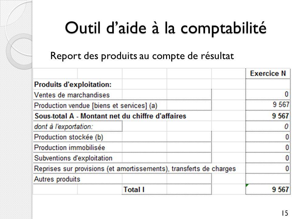 Outil daide à la comptabilité Report des produits au compte de résultat 15