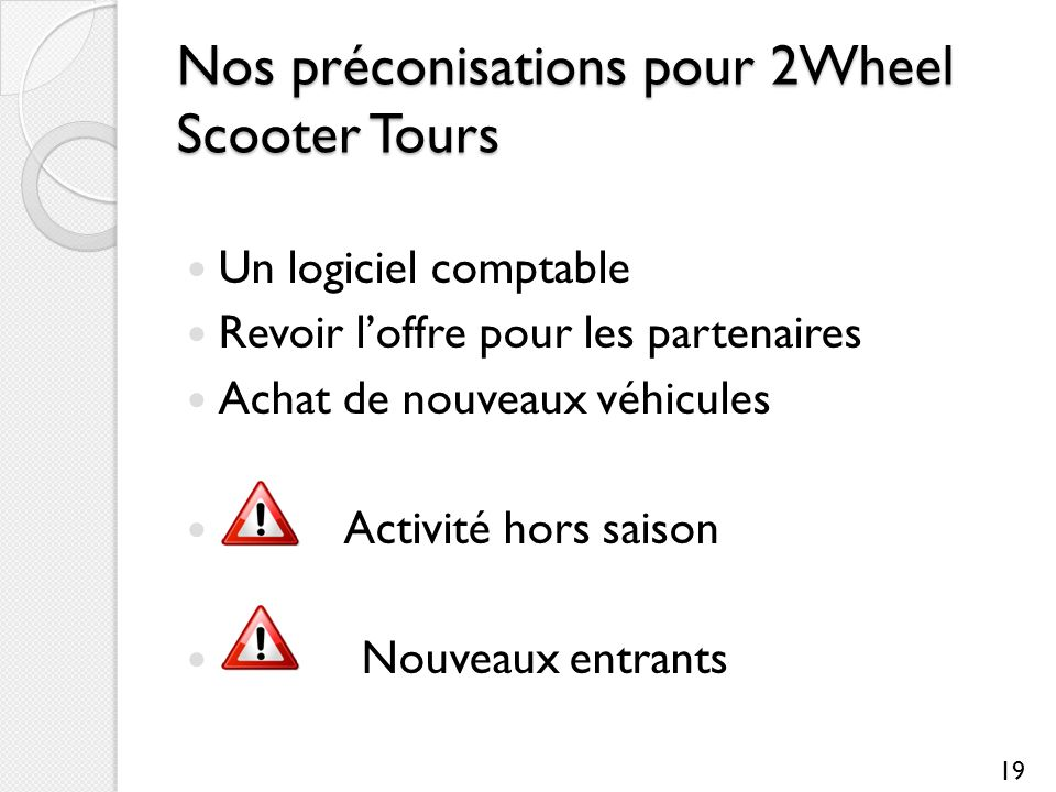 Nos préconisations pour 2Wheel Scooter Tours Un logiciel comptable Revoir loffre pour les partenaires Achat de nouveaux véhicules Activité hors saison