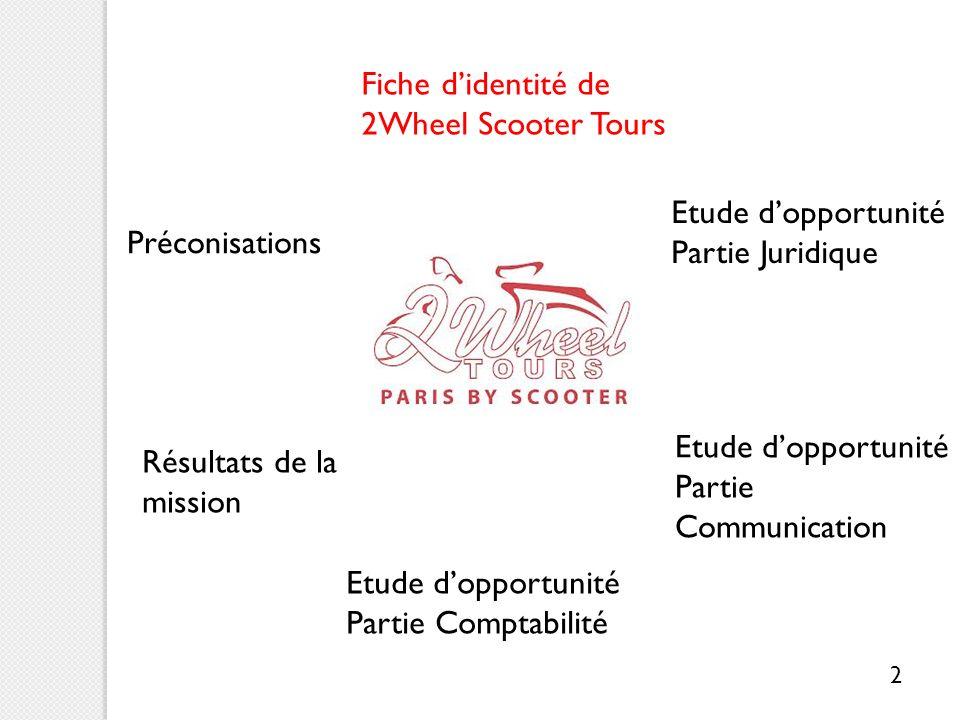 Lentreprise daccueil : fiche didentité Nom : 2 Wheel Scooter Tours, anciennement 2 Wheel Tours Statut juridique : Auto-entrepreneur Cœur de métier : visites guidées de Paris en scooter Activité secondaire : location de scooters 3