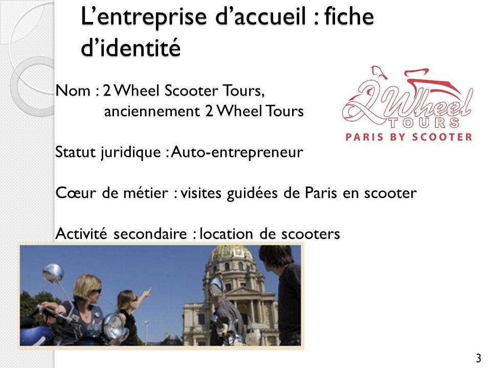 Lentreprise daccueil : fiche didentité Nom : 2 Wheel Scooter Tours, anciennement 2 Wheel Tours Statut juridique : Auto-entrepreneur Cœur de métier : v