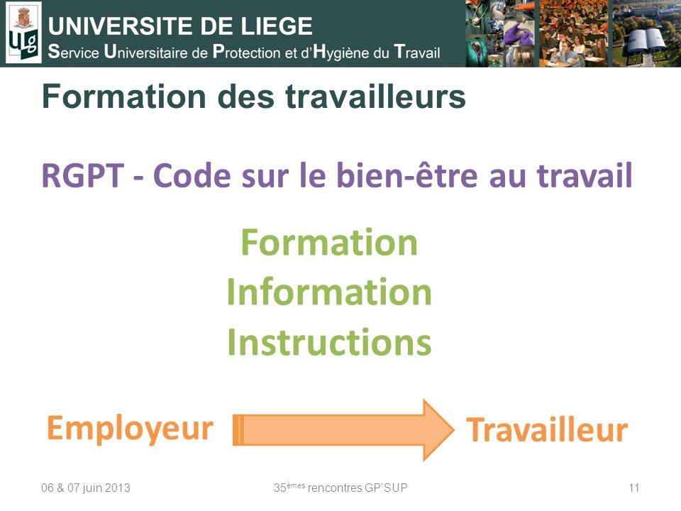 Formation des travailleurs 06 & 07 juin 201335 èmes rencontres GPSUP11 RGPT - Code sur le bien-être au travail Formation Information Instructions Empl