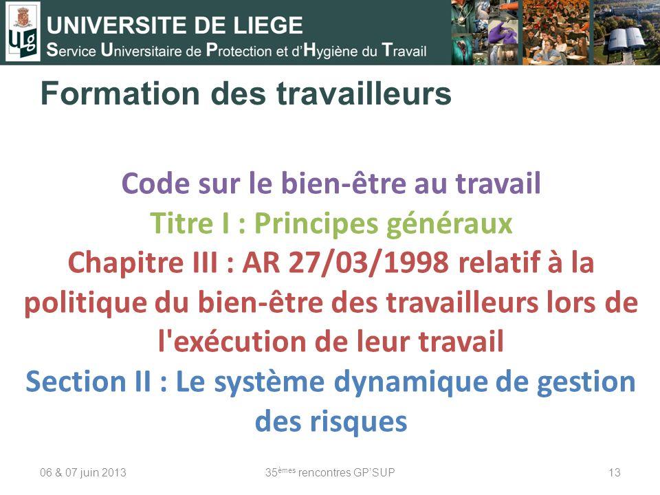 Formation des travailleurs 06 & 07 juin 201335 èmes rencontres GPSUP13 Code sur le bien-être au travail Titre I : Principes généraux Chapitre III : AR