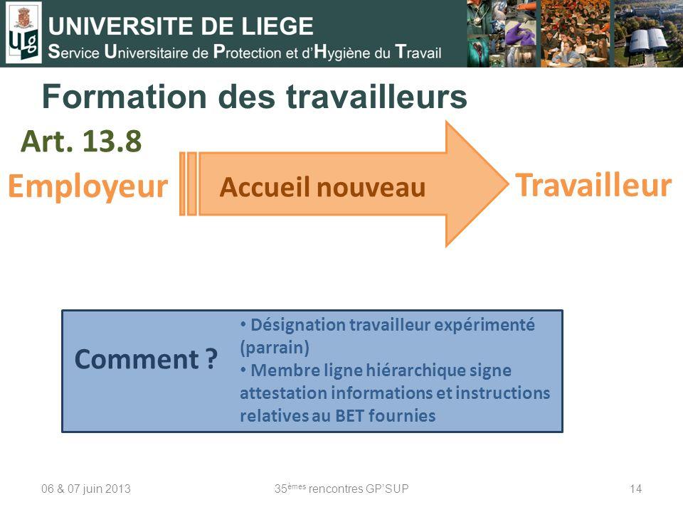 Formation des travailleurs 06 & 07 juin 201335 èmes rencontres GPSUP14 Art. 13.8 Employeur Accueil nouveau Désignation travailleur expérimenté (parrai