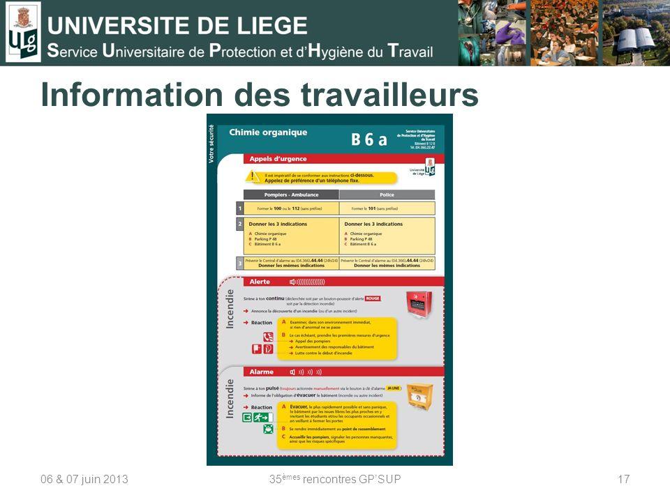 Information des travailleurs 06 & 07 juin 201335 èmes rencontres GPSUP17