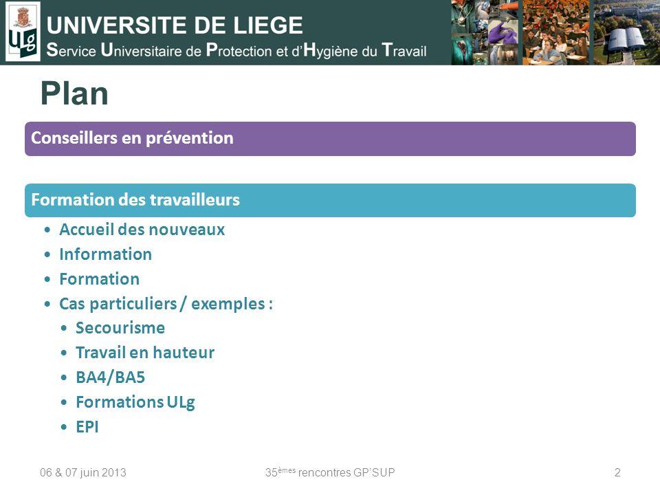 Plan 06 & 07 juin 201335 èmes rencontres GPSUP2 Conseillers en préventionFormation des travailleurs Accueil des nouveaux Information Formation Cas par