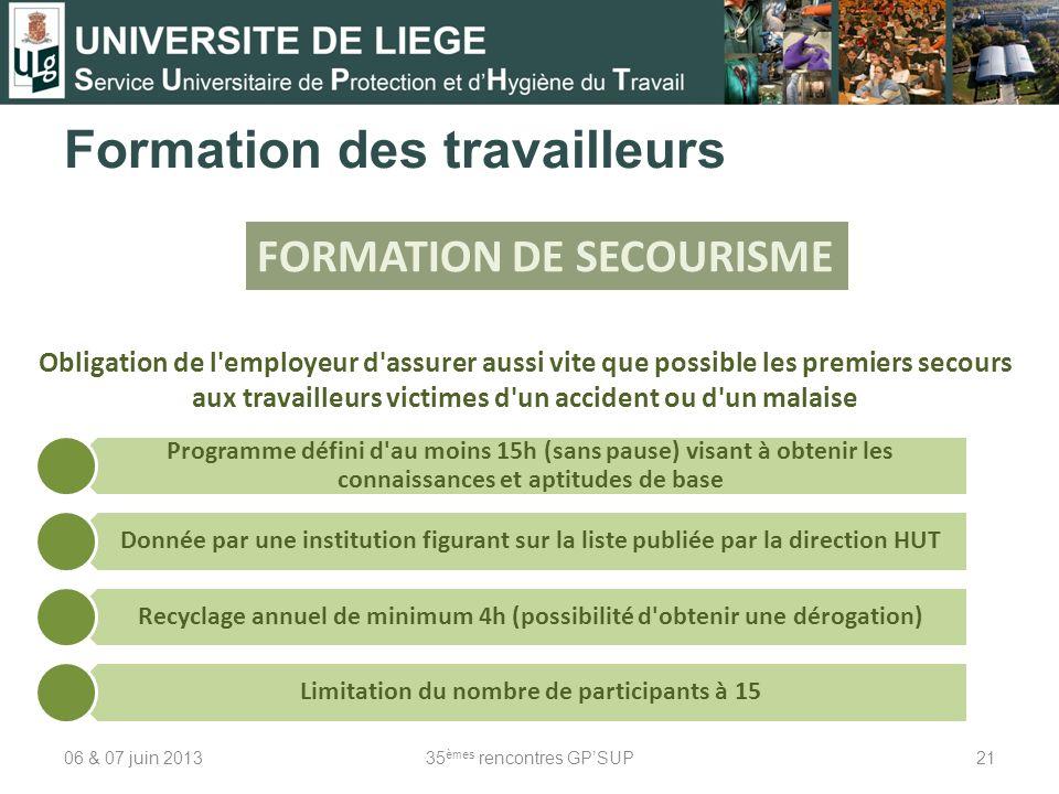 06 & 07 juin 201335 èmes rencontres GPSUP21 Formation des travailleurs FORMATION DE SECOURISME Obligation de l'employeur d'assurer aussi vite que poss