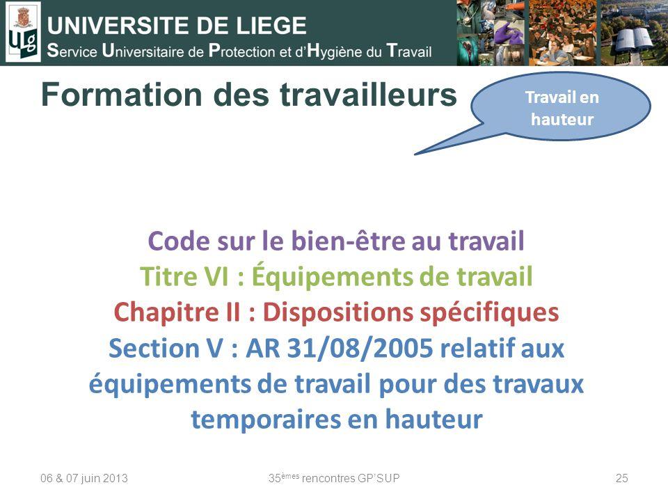 Formation des travailleurs 06 & 07 juin 201335 èmes rencontres GPSUP25 Travail en hauteur Code sur le bien-être au travail Titre VI : Équipements de t