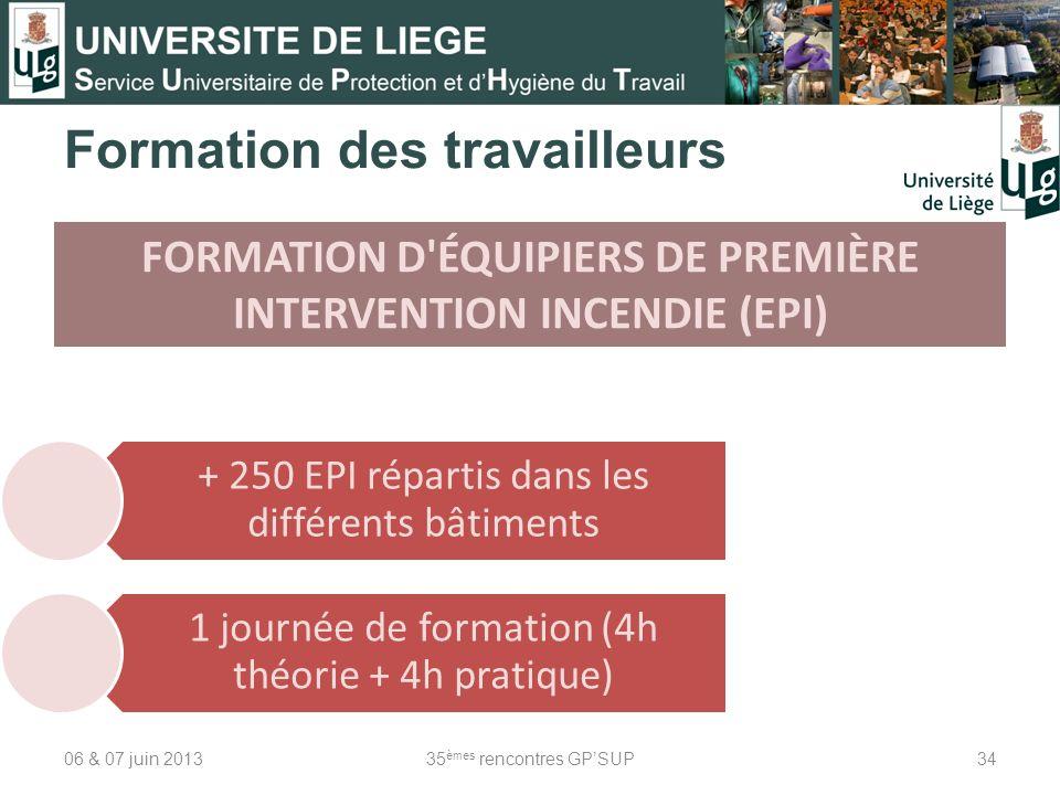 06 & 07 juin 201335 èmes rencontres GPSUP34 Formation des travailleurs FORMATION D'ÉQUIPIERS DE PREMIÈRE INTERVENTION INCENDIE (EPI) + 250 EPI réparti