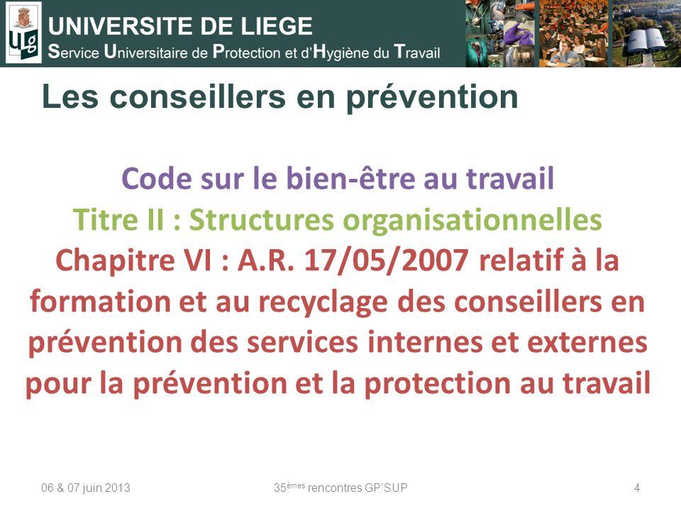 Les conseillers en prévention 06 & 07 juin 201335 èmes rencontres GPSUP4 Code sur le bien-être au travail Titre II : Structures organisationnelles Cha