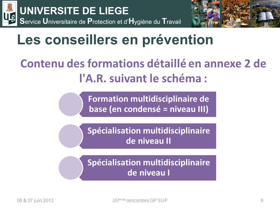 Les conseillers en prévention 06 & 07 juin 201335 èmes rencontres GPSUP6 Contenu des formations détaillé en annexe 2 de l'A.R. suivant le schéma : For