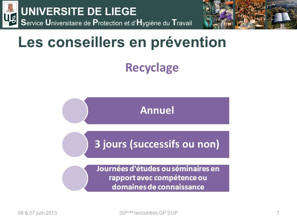 Les conseillers en prévention 06 & 07 juin 201335 èmes rencontres GPSUP7 Recyclage Annuel 3 jours (successifs ou non) Journées d'études ou séminaires