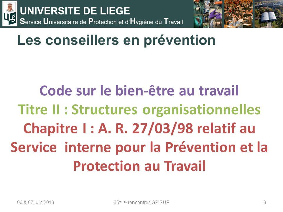 Les conseillers en prévention 06 & 07 juin 201335 èmes rencontres GPSUP8 Code sur le bien-être au travail Titre II : Structures organisationnelles Cha