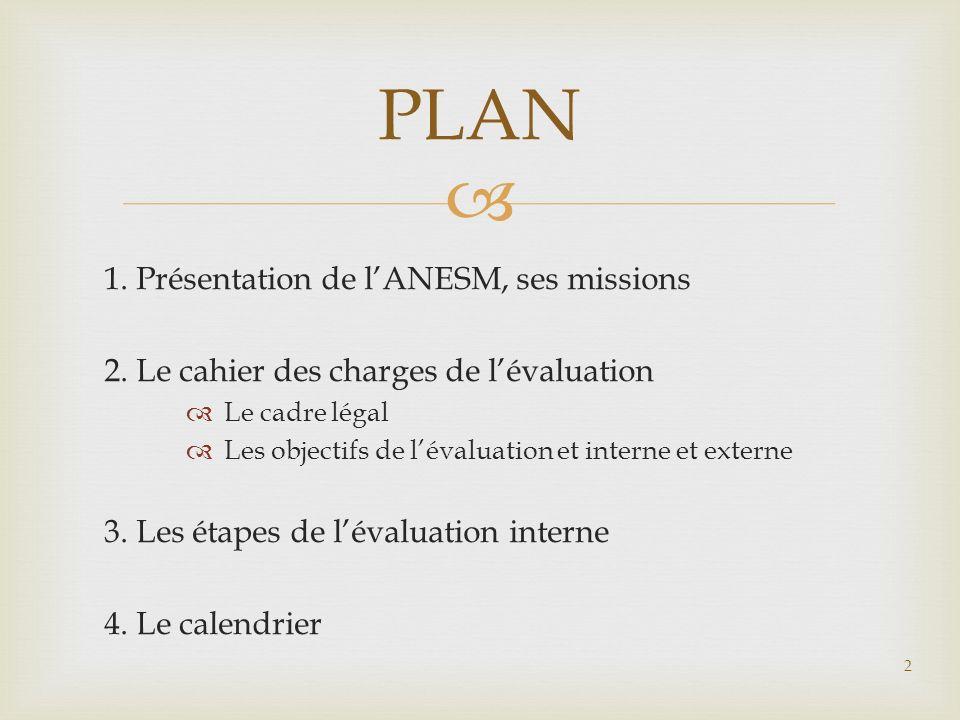 PLAN 1. Présentation de lANESM, ses missions 2. Le cahier des charges de lévaluation Le cadre légal Les objectifs de lévaluation et interne et externe