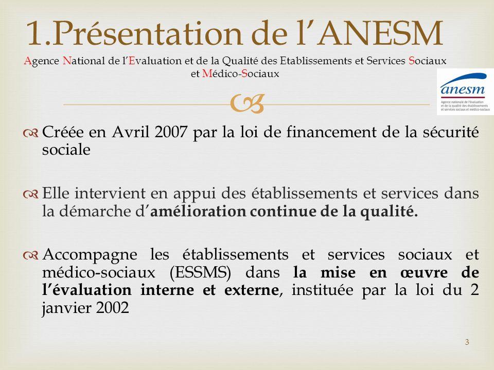 1.Présentation de lANESM Agence National de lEvaluation et de la Qualité des Etablissements et Services Sociaux et Médico-Sociaux Créée en Avril 2007