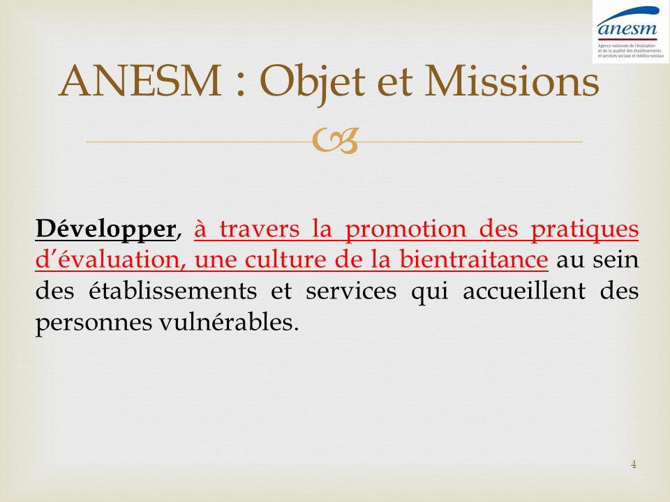 ANESM : Objet et Missions Développer, à travers la promotion des pratiques dévaluation, une culture de la bientraitance au sein des établissements et