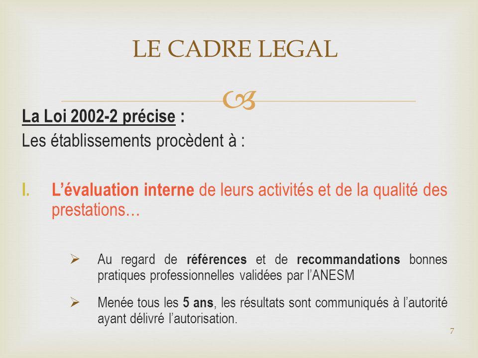 LE CADRE LEGAL La Loi 2002-2 précise : Les établissements procèdent à : I. Lévaluation interne de leurs activités et de la qualité des prestations… Au