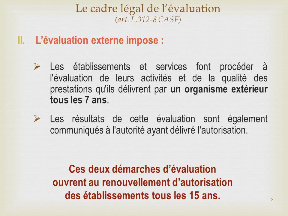 II. Lévaluation externe impose : Les établissements et services font procéder à l'évaluation de leurs activités et de la qualité des prestations qu'il
