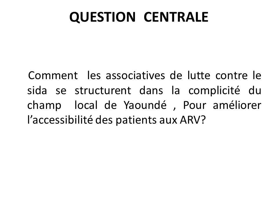 QUESTION CENTRALE Comment les associatives de lutte contre le sida se structurent dans la complicité du champ local de Yaoundé, Pour améliorer laccessibilité des patients aux ARV?
