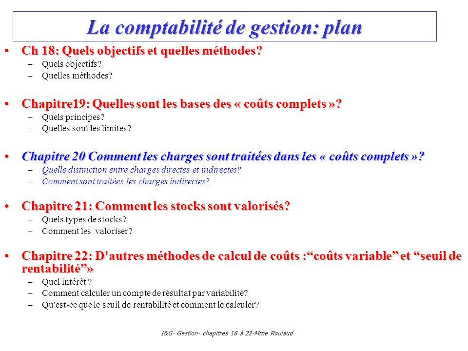 I&G- Gestion- chapitres 18 à 22-Mme Roulaud La comptabilité de gestion: plan Ch 18: Quels objectifs et quelles méthodes?Ch 18: Quels objectifs et quel