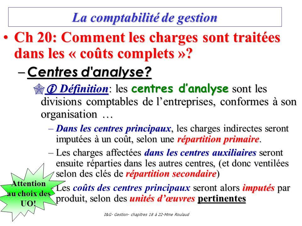 I&G- Gestion- chapitres 18 à 22-Mme Roulaud La comptabilité de gestion Ch 20: Comment les charges sont traitées dans les « coûts complets »?Ch 20: Com