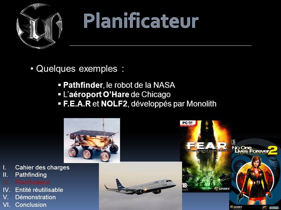 Quelques exemples : Pathfinder, le robot de la NASA Laéroport OHare de Chicago F.E.A.R et NOLF2, développés par Monolith I.Cahier des charges II.Pathfinding III.Planificateur IV.Entité réutilisable V.Démonstration VI.Conclusion