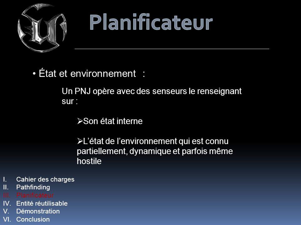 État et environnement : Un PNJ opère avec des senseurs le renseignant sur : Son état interne Létat de lenvironnement qui est connu partiellement, dyna