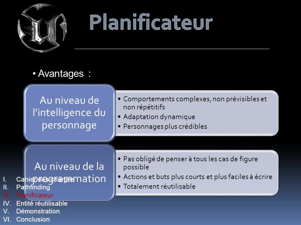 Avantages : Comportements complexes, non prévisibles et non répétitifs Adaptation dynamique Personnages plus crédibles Au niveau de lintelligence du p