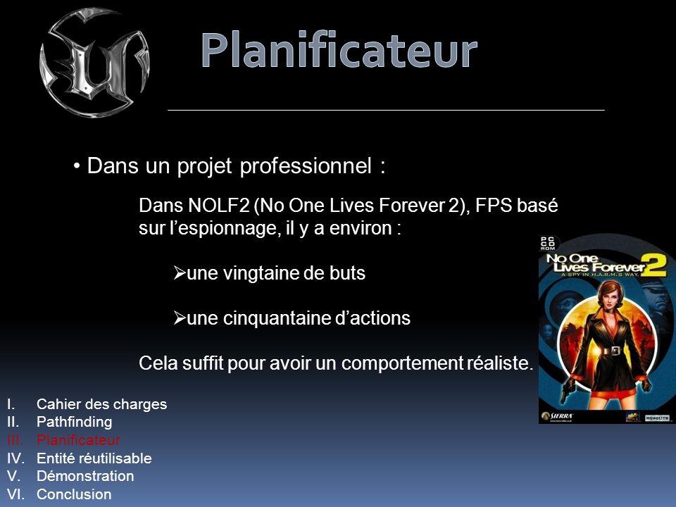 Dans un projet professionnel : Dans NOLF2 (No One Lives Forever 2), FPS basé sur lespionnage, il y a environ : une vingtaine de buts une cinquantaine dactions Cela suffit pour avoir un comportement réaliste.