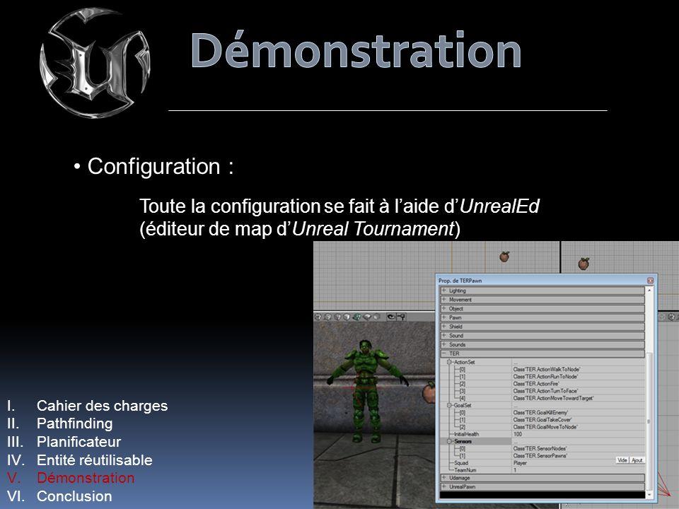 Configuration : Toute la configuration se fait à laide dUnrealEd (éditeur de map dUnreal Tournament) I.Cahier des charges II.Pathfinding III.Planificateur IV.Entité réutilisable V.Démonstration VI.Conclusion