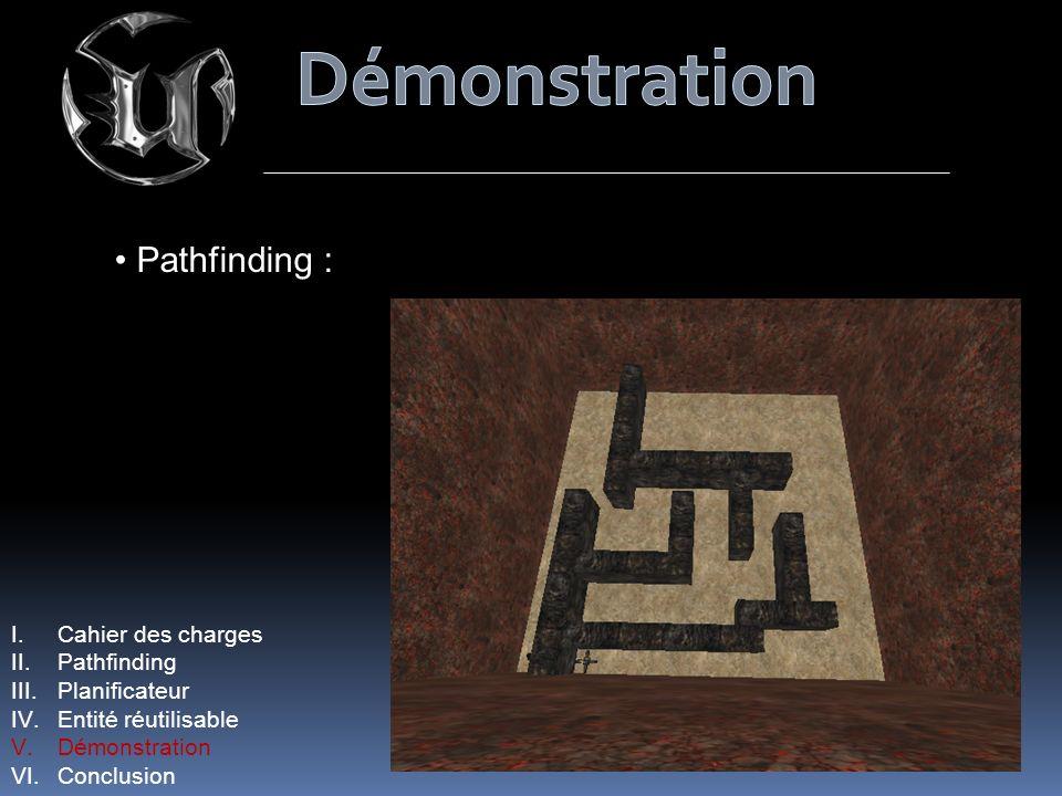 Pathfinding : I.Cahier des charges II.Pathfinding III.Planificateur IV.Entité réutilisable V.Démonstration VI.Conclusion